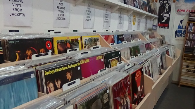 Bins of used vinyl records for sale, arranged alphabetically of artists varying from Bob Dylan to Cheap Trick